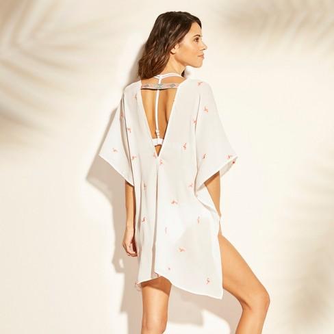 71eb1337e1 Women s Flamingo Embroidery Kaftan Cover Up - Xhilaration™ White   Target