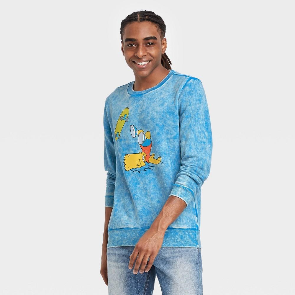 Men 39 S The Simpsons Bart Skateboard Short Sleeve Graphic Crewneck T Shirt Blue S