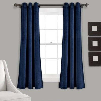 Set of 2 Prima Velvet Room Darkening Window Curtain Panels - Lush Décor