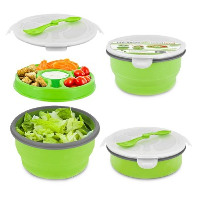 SmartPlanet Deluxe Collapsible Green Salad Bowl Kit 65 oz