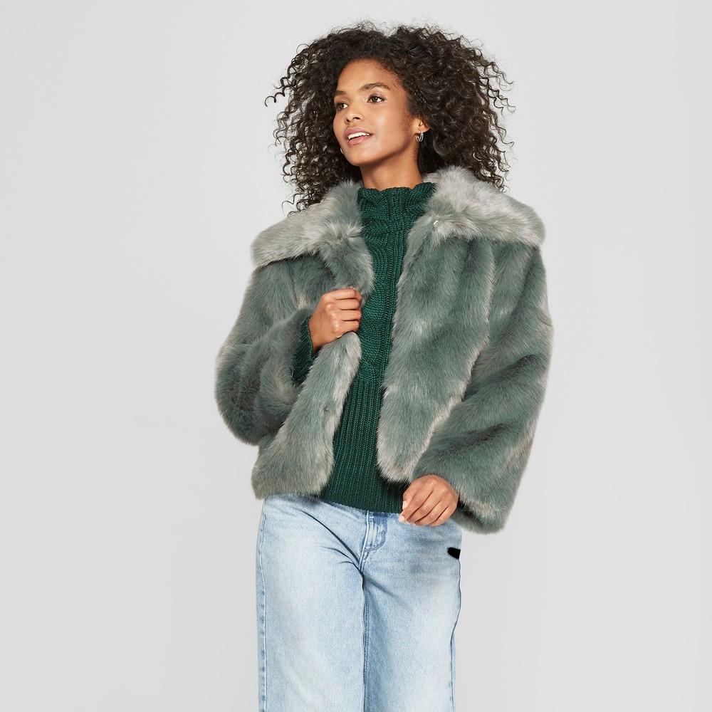 Women's Long Sleeve Britt Faux Fur Coat - Cliche Green XL