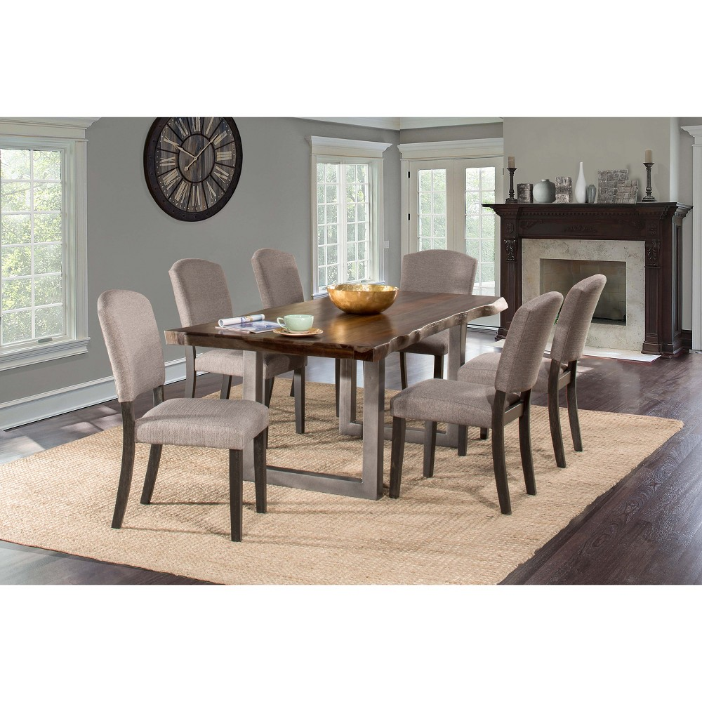 5pc Emerson Rectangle Dining Set Gray - Hillsdale Furniture Bring the family together for daily dinners gathered around the 5-Piece Emerson Rectangle Dining Set from Hillsdale Furniture. The natural-edge tabletop brings asymmetrical personality to your dining space. With four chairs and a table, this rectangular dining set is just what you need for mealtime memories for years to come.