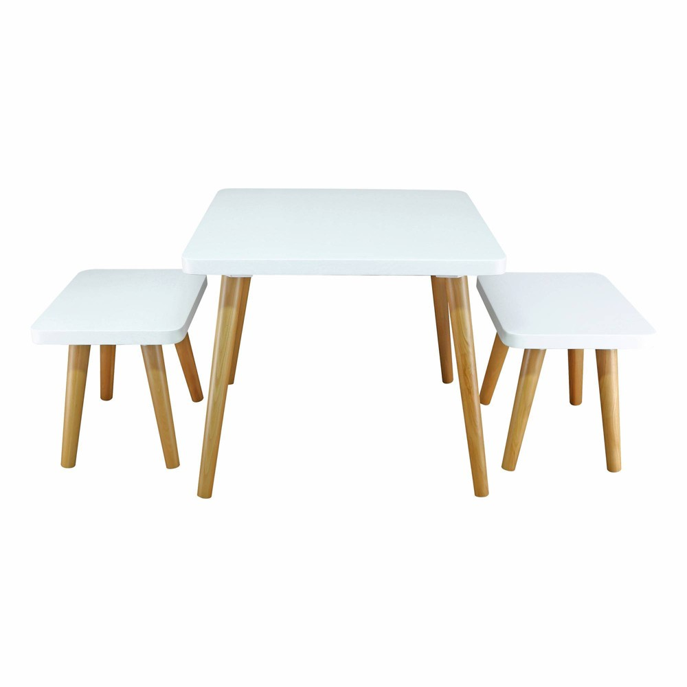 Image of 3pc Kids Table and Chair Set Whit/Natural - Flora Home