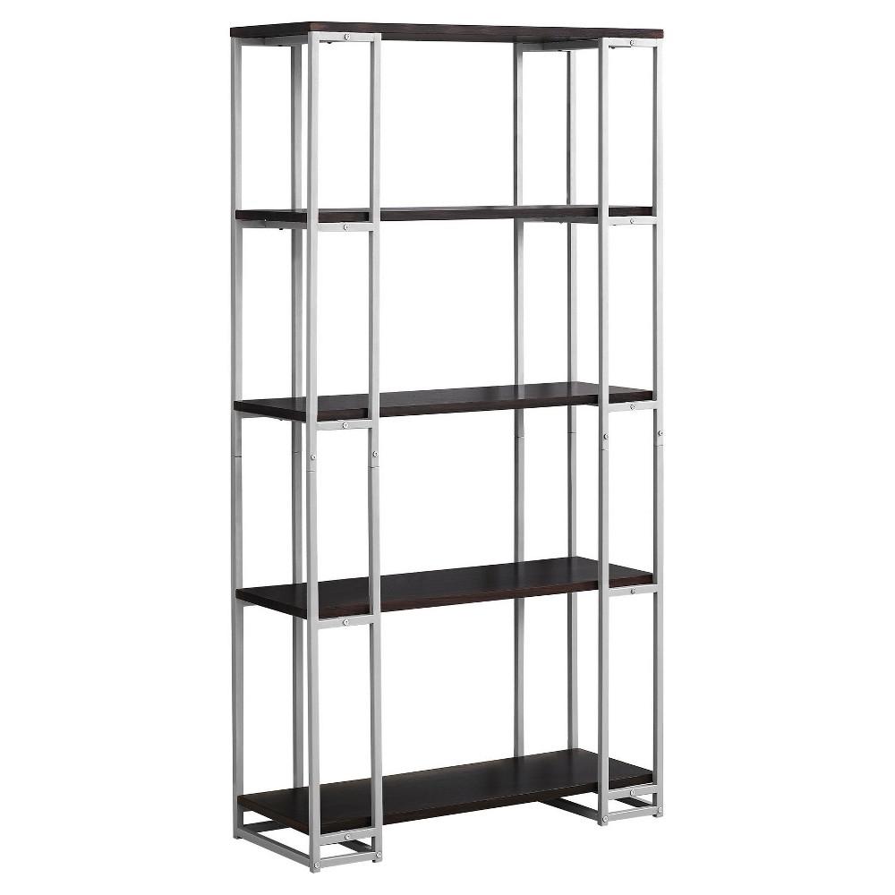 Bookcase Cappuccino& Silver Metal 70 - EveryRoom, Cappuccino