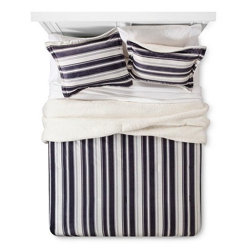 Brindley Stripe Print Micro Mink with Sherpa Reverse Comforter Set - 3pc - image 1 of 3