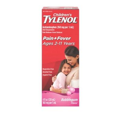 Children's Tylenol Pain + Fever Relief Liquid - Acetaminophen - Bubble Gum - 4 fl oz