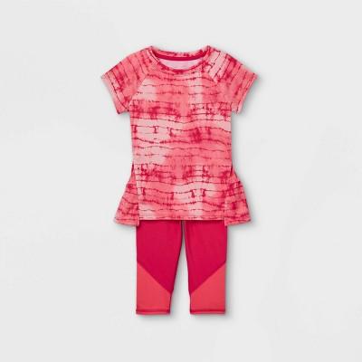 Toddler Girls' Tie-Dye Short Sleeve Active Top & Capri Leggings Set - Cat & Jack™ Pink