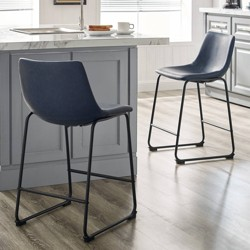Set Of 2 Faux Leather Dining Kitchen Counter Stools - Saracina Home