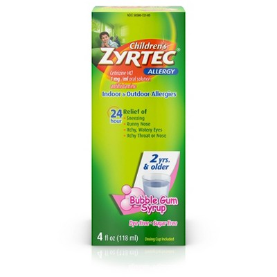 Children's Zyrtec 24 Hour Allergy Relief Syrup - Bubble Gum - Cetirizine - 4 fl oz