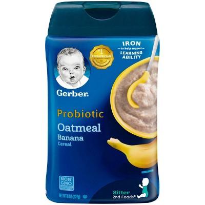 Gerber Probiotic Oatmeal Banana Baby Cereal - 8oz