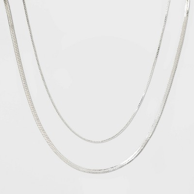 Plated Herringbone and Box Chain Necklace Set 2pc - A New Day™ Silver