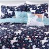 5pc Full/Queen Unicorn Heart Bedding Set with Unicorn Throw Pillow Navy - Lush Dcor - image 3 of 4