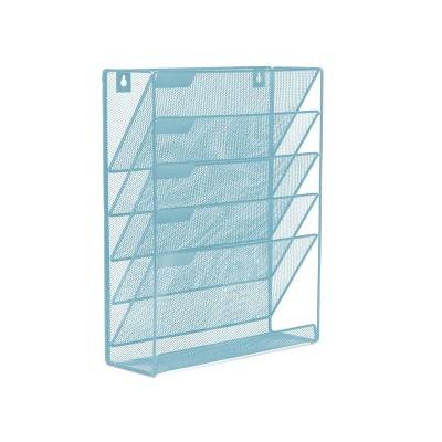 Mind Reader Mesh 6 Pocket Vertical Desk Organizer Turquoise