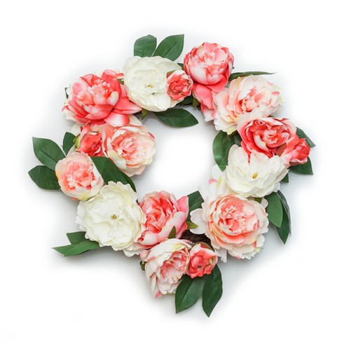 "Artificial Floral Wreath Pink/White 20""x20"" - Lloyd & Hannah - image 1 of 1"
