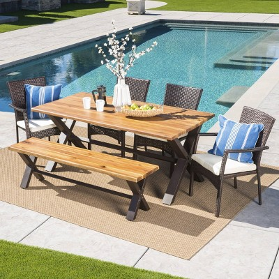 Brandywine 6pc Acacia Wood/Wicker Patio Dining Set - Brown/Cream - Christopher Knight Home