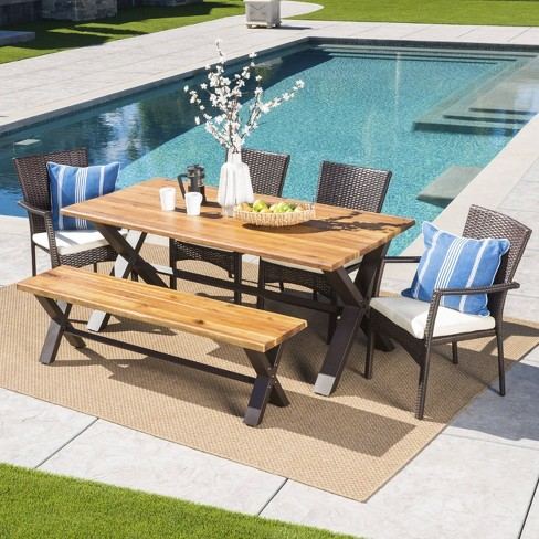 Brandywine 6pc Acacia Wood Wicker Patio Dining Set Brown Cream Christopher Knight Home Target