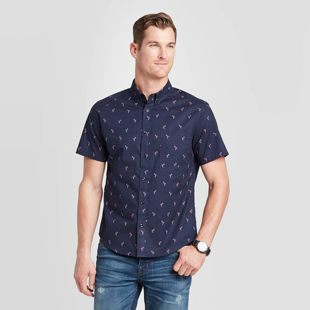 Men's Standard Fit Flamingo Print Short Sleeve Poplin Button-Down Shirt - Goodfellow & Co Navy S, Men's, Size: Small, Blue was $19.99 now $12.0 (40.0% off)
