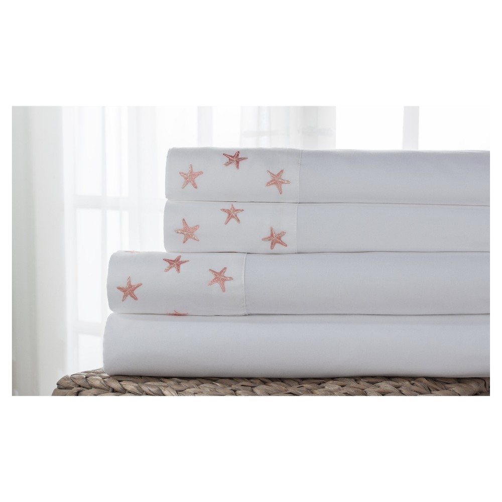 Hotel Coastal Microfiber Embroidered Sheet Set (King) Starfish White