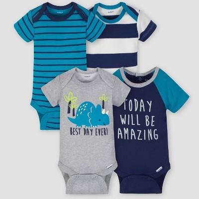 Gerber Baby Boys' 4pk Dinosaur Short Sleeve Onesies Bodysuit - Gray/Green/Blue 6-9M