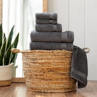 6pc Noah Bath Towel Set Dark Gray - Martha Stewart