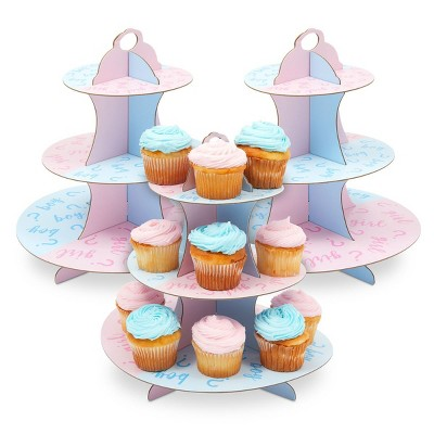 Sparkle and Bash 3 Pack 3-Tier Cardboard Cupcake Stand for Gender Reveal Party (12 x 12 in)