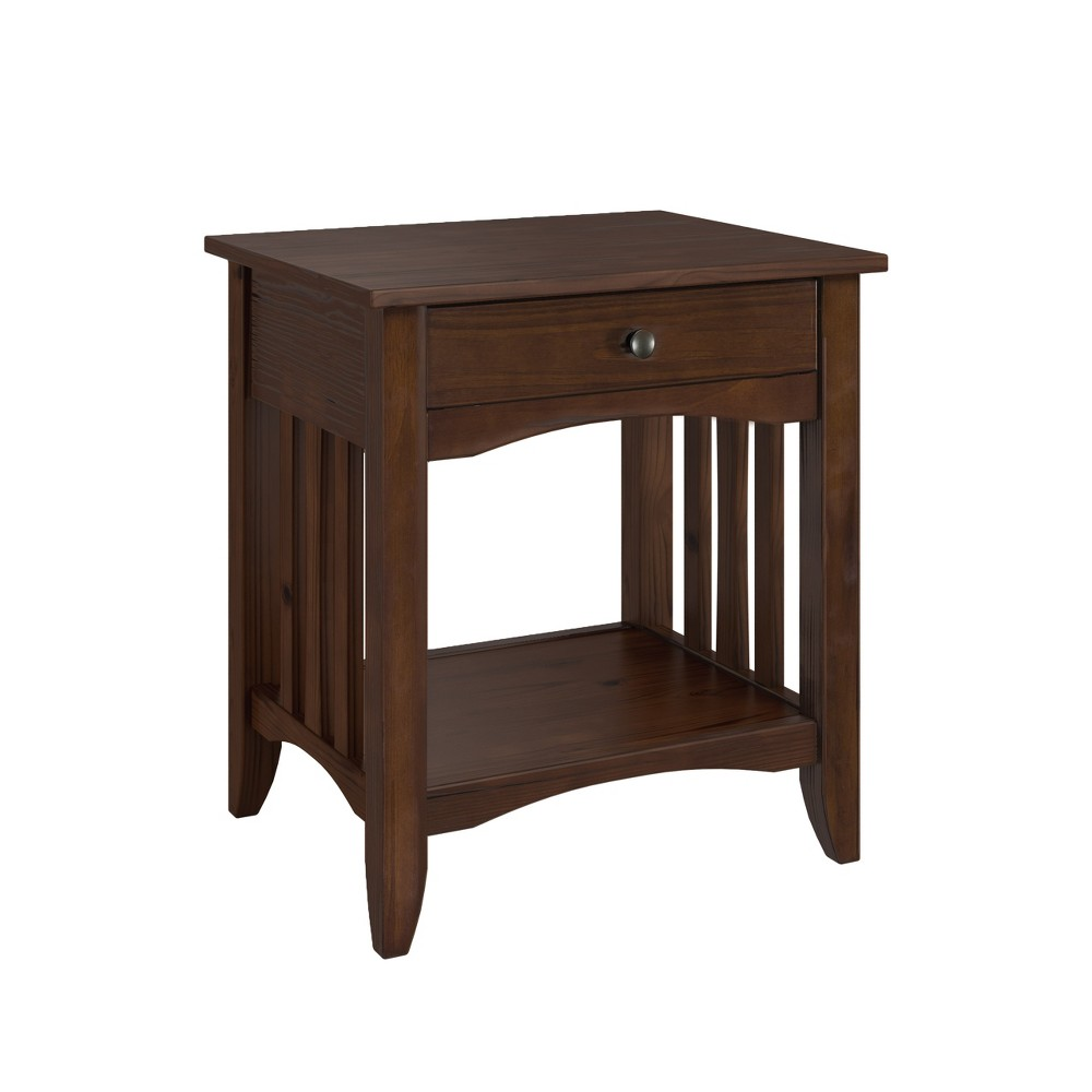 Crestway Solid Wood End Table with Drawers Cappuccino - CorLiving