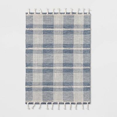 5'X7' Plaid Woven Area Rug Blue - Threshold™