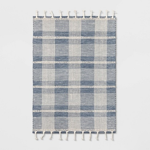 5'X7' Plaid Woven Area Rug Blue - Threshold™ - image 1 of 3