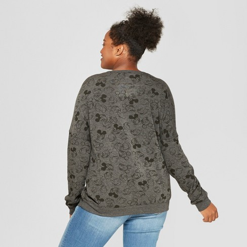12a2a7116cf9d Women s Disney Plus Size Mickey Mouse Print Happy Graphic Pullover  Sweatshirt (Juniors ) Charcoal   Target