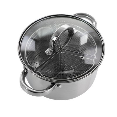 Oster Sangerfield 5 Piece 4 Quart Stainless Steel Dutch Oven with Lid and 3-Section Dividers