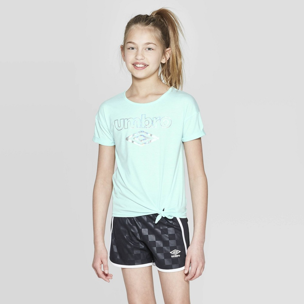 Umbro Girls' Shine Logo Side Tie T-Shirt - Light Blue XS