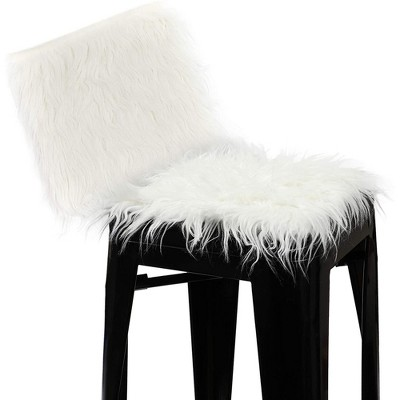 Luxury Faux Fur Chair Cover Seat Fluffy Cushion Soft Plush Square Area Rugs for Chair or Sofa, White