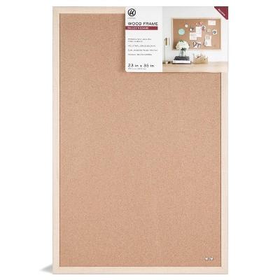 "U Brands 23""x35"" Wood Frame Bulletin Board"