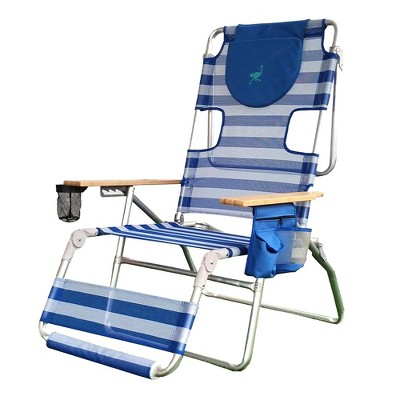 Ostrich 3-N-1 Altitude Outdoor Lounge Reclining Beach Lake 16-Inch Height Chair, Stripped Blue