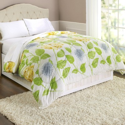 Lakeside Floral Vine Bed Comforter with Leaves and Flower Accents