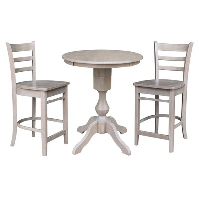 """30"""" Round Pedestal Counter Height Dining Set with 2 Emily Stools - International Concepts"""