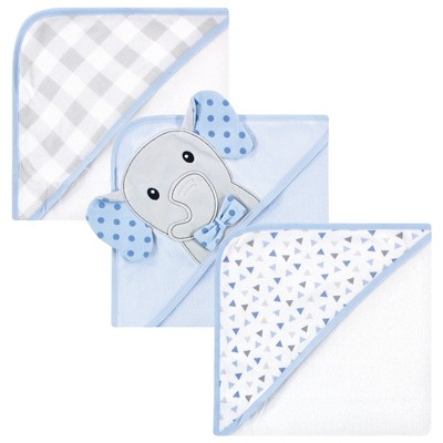 Hudson Baby Infant Boy Cotton Rich Hooded Towels, Blue Dots Gray Elephant, One Size