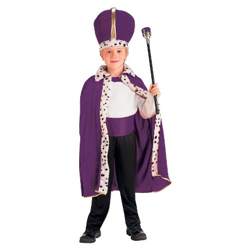 Kids' King Robe and Crown Costume Purple - One Size Fits Most - image 1 of 1