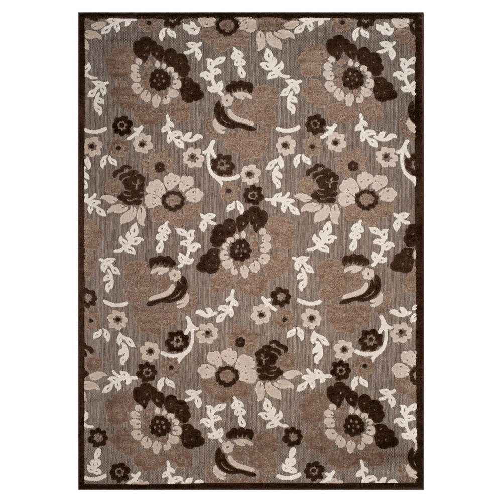 Brown Floral Loomed Area Rug 6'7