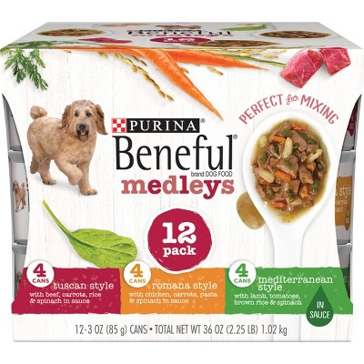 Purina Beneful Medleys Tuscan, Romana & Mediterranean Styles Wet Dog Food - 3oz/12ct Variety Pack