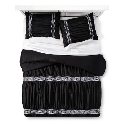 Black Embroidered Comforter Set (Full/Queen)- Xhilaration™