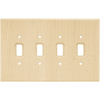 Franklin Brass Square Quad Switch Wall Plate Unfinished Wood Brown