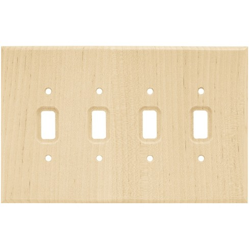 Franklin Brass Square Quad Switch Wall Plate Unfinished Wood Brown - image 1 of 3