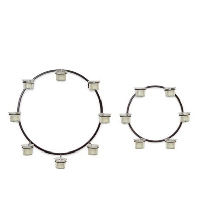 Melrose Set of 2 Modern Circle Wall Mounted Black Metal Votive Candle Holders 18""
