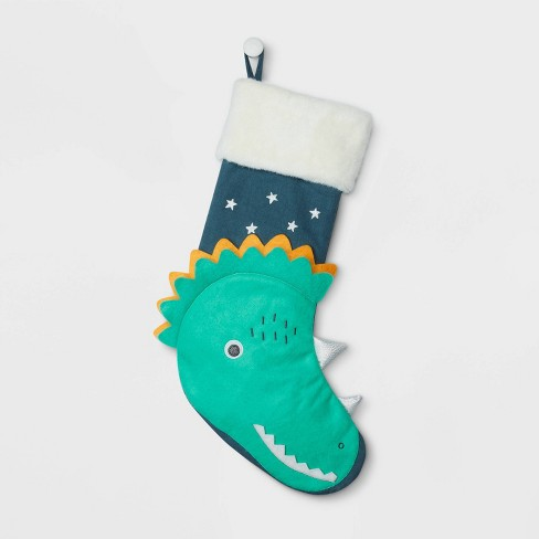 Christmas Dinosaur.Dinosaur Christmas Stocking Blue And Green Wondershop