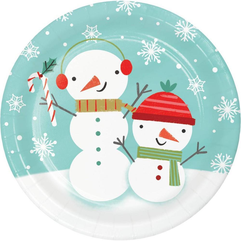 Image of 24ct Winter Snowman Dessert Plates