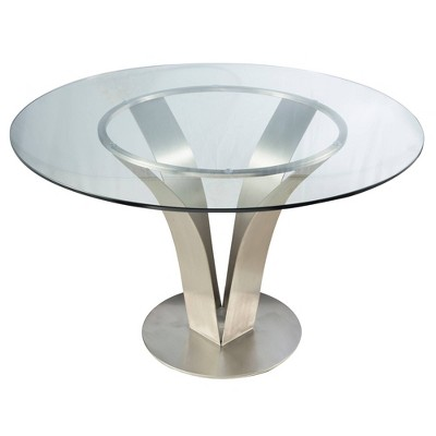 Guntersville Contemporary Dining Table Steel/Clear - Modern Home