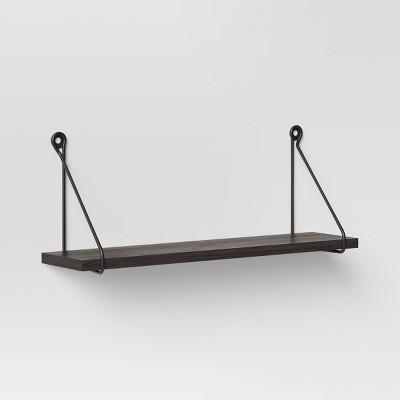 "24"" x 6"" Metal/Wood Hanging Wall Shelf Black - Threshold™"