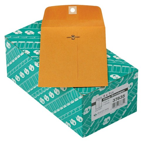 Quality Park 5 x 7 1/2-28 lb Clasp Envelope- Brown (100 Per Box) - image 1 of 1