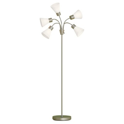 5 Head Floor Lamp White Shade with Silver Frame - Room Essentials™